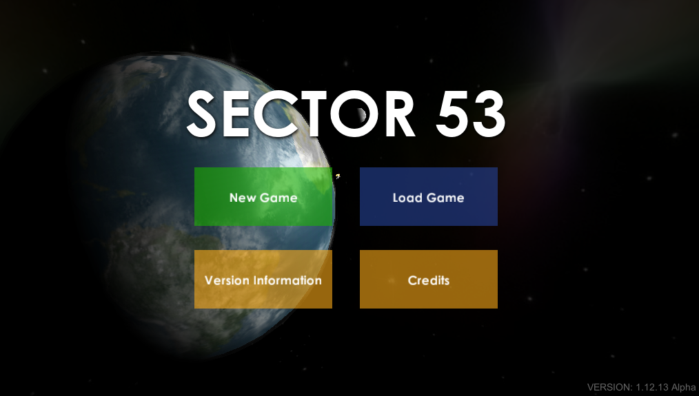Early version of main menu
